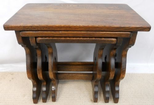 Solid Oak Nest of Three Coffee Tables